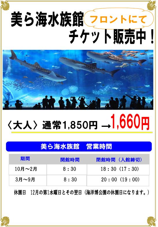 美ら海水族館割引チケット販売中!!